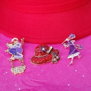 🍸 Ladies Red Hat Society Pin & Brooches 🍹